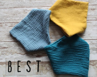 Set of 3 muslin double gauze bandana bibs - color dark turquoise, mustard and light turquoise