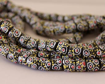 Black, White, Red & Yellow African Sandcast Tube Beads - ASC-T 095