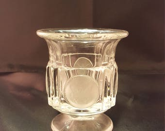 Fostoria Clear Coin Glass Toothpick holder/ Bud vase