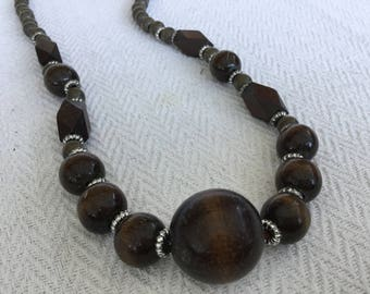 Wooden Brown Necklace, Geometric Beads Necklace
