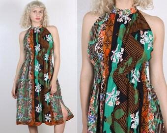 70s Floral Halter Dress // Vintage Hawaiian Boho Knee Length Sundress - Large to XL