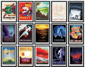 NASA Posters Full Set, nasa print,  nasa wall art, Space Posters, Space Art, Nasa Art, Nasa Space Poster, nasa prints, nasa travel posters