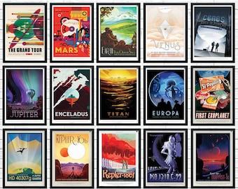 Set of 15 NASA Posters, nasa print,  nasa wall art, Space Posters, Space Art, Nasa Art, Nasa Space Poster, nasa prints, nasa travel posters