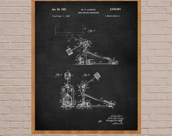 Drum Kit, Patent Print, Drummer Gift, Drum Kit Poster, Drum Kit Decor, Drummer Wall Art, Drum Poster, Drum Kit Set, Drum Patent Print