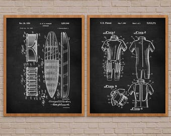 Surfing Poster Set of 2, Surfing Wall Art, Surfing Print, Surfing Patent Print, Surfing Art, Wet Suit, Vintage Surfing, Surf Poster