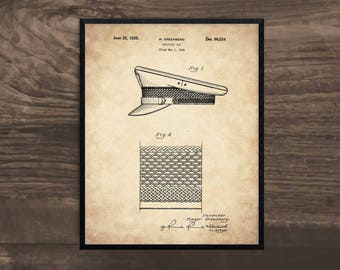 Military Cap, Patent Art, Military Art, Soldier Gift, blueprint art, US Army, military decor, military art, military gifts, military print