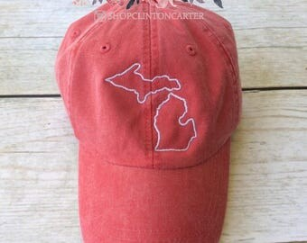 State Outline Cap | Michigan | ANY STATE -  Monogram Ball Cap - Monogram Cap - Monogram Hat - Monogrammed Cap