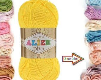 Bikini yarn, Summer Yarn,  Diva silk effect, Knitting yarn, crochet yarn, lace yarn, acrylic yarn, bikini pattern