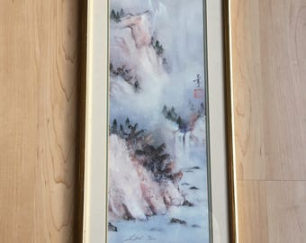 Vintage Lena Liu watercolor limited edition 15/400 lithograph hand/pencil signed framed/matted winter scene mountains/snow/waterfalls/trees.