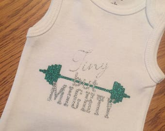 Tiny but mighty/NICU onesie/custom onesie/preemie onesie/