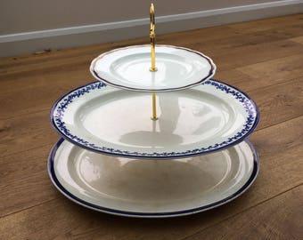 Vintage platter cake stand