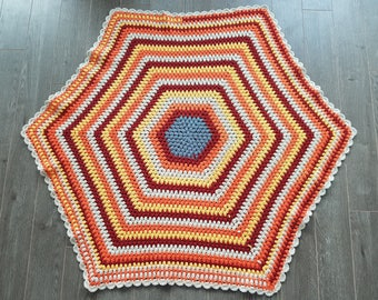 "Vintage Hexagon Crocheted knotted Carpet /  38"" x 38"" / Blue Red Orange White Hexagon inside Hexagon Rug"