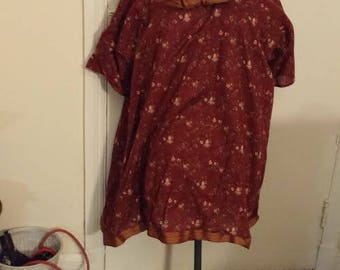 Rust Flowered Shirt with bow and trim