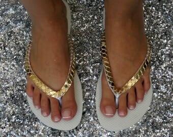 White Bridal Flip Flops, Gold Women's Shoes, Custom Flip Flops, Havaianas, Wedding Flip Flops, Woman Flip Flop, Bridal Shower Gift