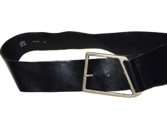 Vintage women belt black real leather