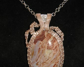 227 Square pattern rose gold and silver with wide bail picture jasper