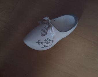 pretty white weathered wooden clog