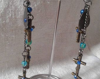 beads and bronze cross earrings
