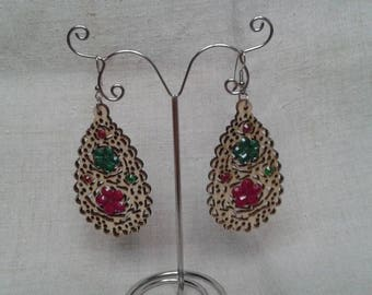 wood and rhinestone Flower Earrings
