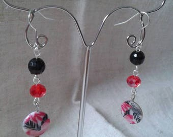 Chinese Red and black earrings