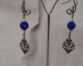 Blue Pearl and bronze leaf earrings