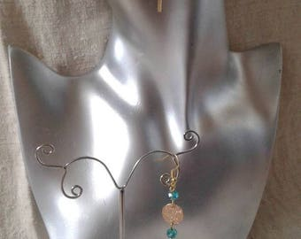 """marriage of gold and Aqua green"" earrings"