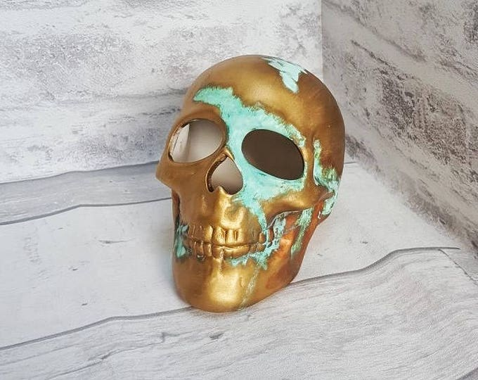 Gold Ceramic Skull Hand Painted Ornament Unique Copper Finish Green Tint Home