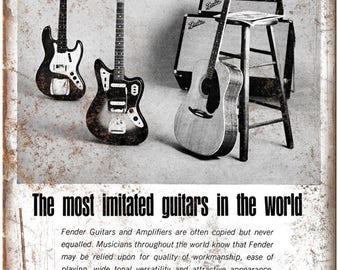 """Fender Guitar and Amp Vintage Ad 10"""" X 7"""" Reproduction Metal Sign R01"""
