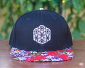 The Circle of Life Sacred Geometry Floral Brim Snapback Hat