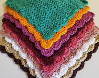 WASHCLOTH SET OF 3 choose your colors, Handmade wash cloths, gift bath gift set, crochet wash cloths, 100% cotton