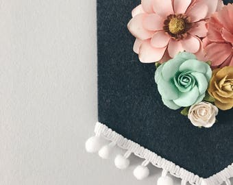 Mini paper floral banner , felt banner , nursery banner ,  gallery banner ,