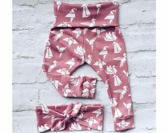 Baby / Toddler leggings and headband - origami animal print - matching