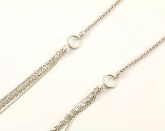 Vintage Long Multi Chains Necklace 925 Sterling NC 1007
