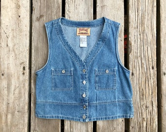 Vintage Cropped Denim Vest w/ Sunflower Buttons