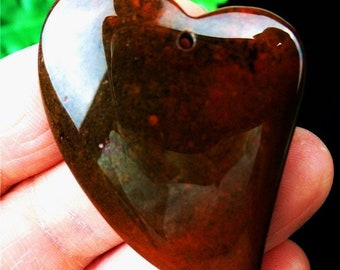 Natural Jasper Heart Natural Stone Pendant Red Green Jasper Natural Stone Pendant Bead 42*36*7mm