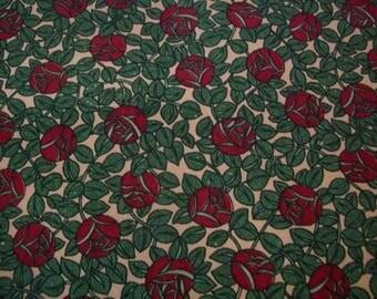 fabric antique art deco small roses