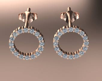 14K Rose Gold Earring With  Diamonds A-ER1007