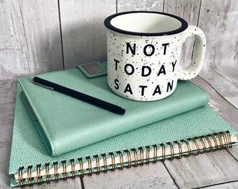 SALE / Not Today Satan / Stoneware Mug / Fall Mug / Winter Mug / Coffee Mug / Winter Coffee Mug / Fall Coffee Mug