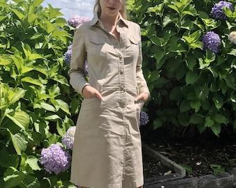 Vintage 80s dress Byblos blu, military dress, safari dress