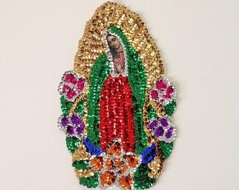 """Our Lady of Guadalupe Sequin Applique La Virgen de Guadalupe en Lentejuela 12""""X8"""" Virgin of Guadalupe"""