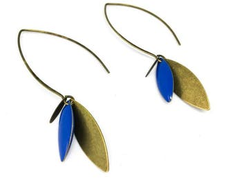 """Earrings enameled sequin """"Blue Iris"""" chic and trendy"""