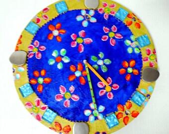 """Flowers on Blue Danube"" clock diameter 30 cm joyful painting"