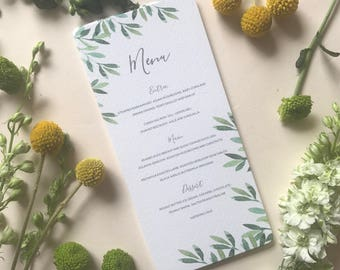 Printable Wedding Menu - Botanical Leafy Wedding Menu Card - Rustic Wedding Reception Table Decor