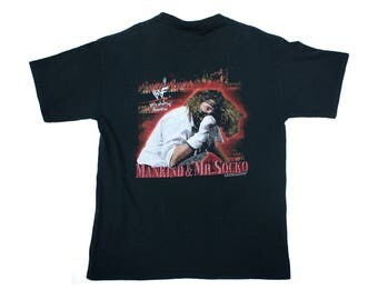 "WWF Wrestling Mankind ""Please Don't Feed The Animals"" Vintage T-Shirt size XL wwe Mick Foley"