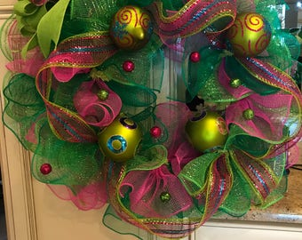 Hot Pink and Green Deco Mesh Wreath