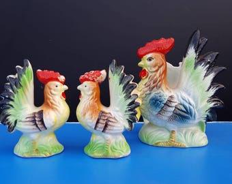 Vintage Ceramic Rooster Salt and Pepper Shakers & Napkin Holder Set Made in Japan