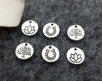 20pcs Antique Silver Tree of Life Alloy Charms,Horseshoe Lotus Flower Charms Pendant for Necklace Bracelet DIY Jewelry Making Accessories