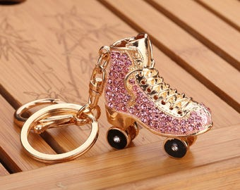 Keyring Bag Charm Pendant Keys Holder Crystal  Roller Skates Shoe Charms Pendants Keychain Jewelry Key Chain Women Girl Gifts Accessories