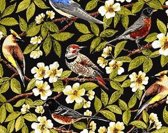 Black bird fabric patchwork PALOMA BIRDS