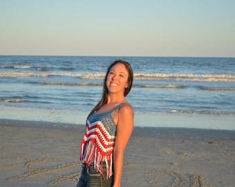Crochet Top / Crochet Tank Top / Crop Top / Summer Shirt / Red White and Blue Shirt / 4th of July Outfit / Summer Crop Top  Cotton Crop Top